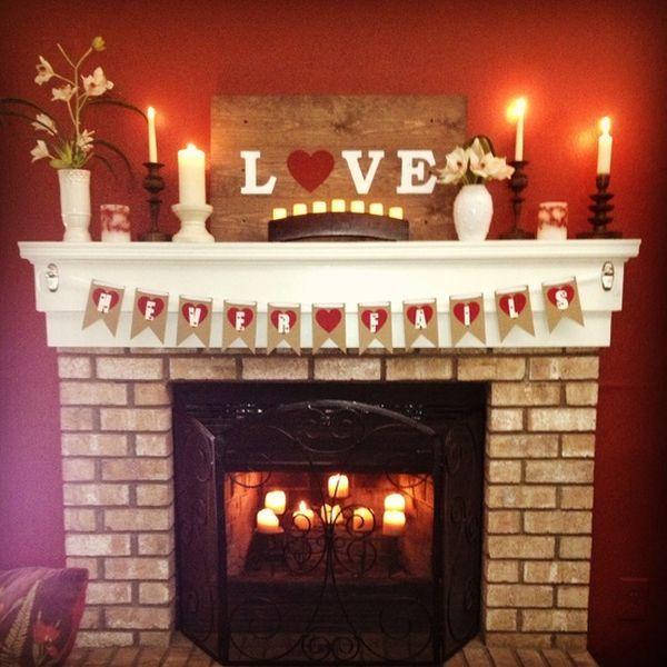 20 Gorgeous Valentine S Day Mantel Decor Ideas Fireplace Decor Candles Valentine Decorations Mantel Decorations