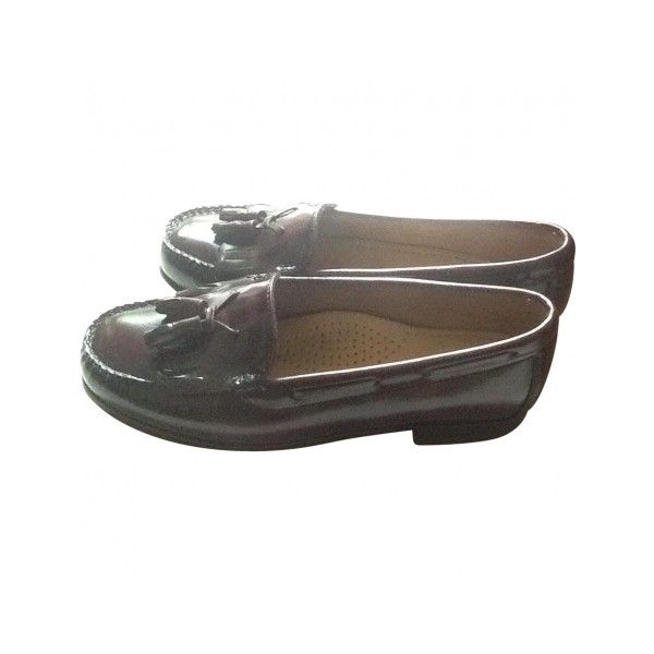 Pre-owned BASS WEEJUN Burgundy Leather Flats ($92) ❤ liked on Polyvore featuring shoes, flats, burgundy flats, burgundy shoes, leather flats, pre owned shoes and flat shoes
