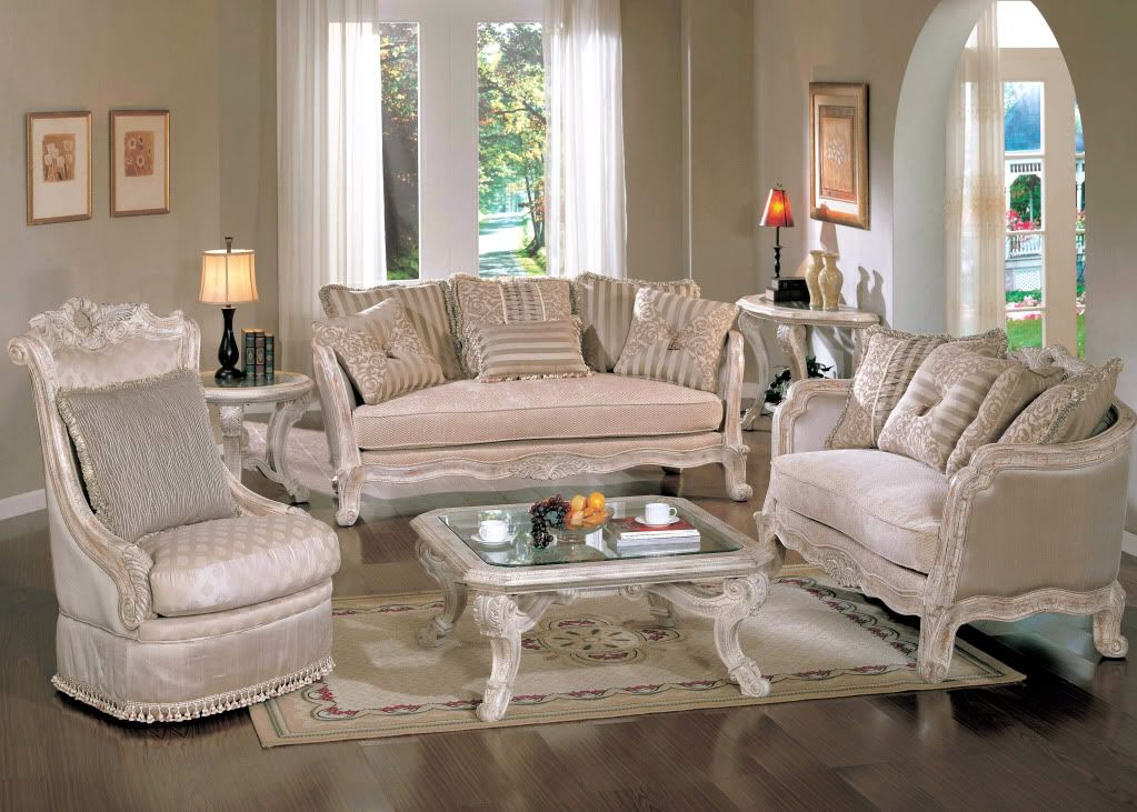 Callie Antique White Traditional Formal Living Room Furniture Set