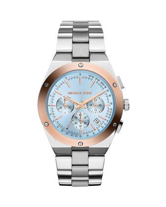 Based on the name, I need it!! Reagan+Stainless+Steel/Rose+Golden+Blue-Dial+Chronograph+Watch+by+Michael+Kors+at+Neiman+Marcus.