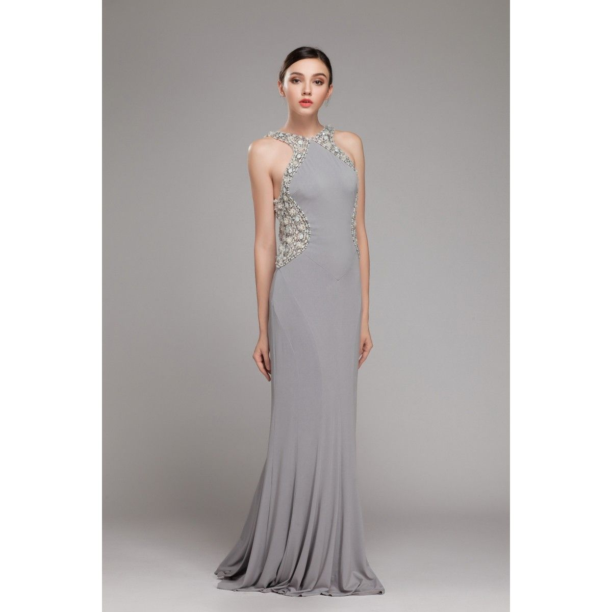Halter Low Back Jersey Prom Dress Winter Formal Dress Formal Dress