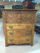 Antique Oak Chest with 3 Graduated Drawers below Ornately Carved Cabinet ca 1900