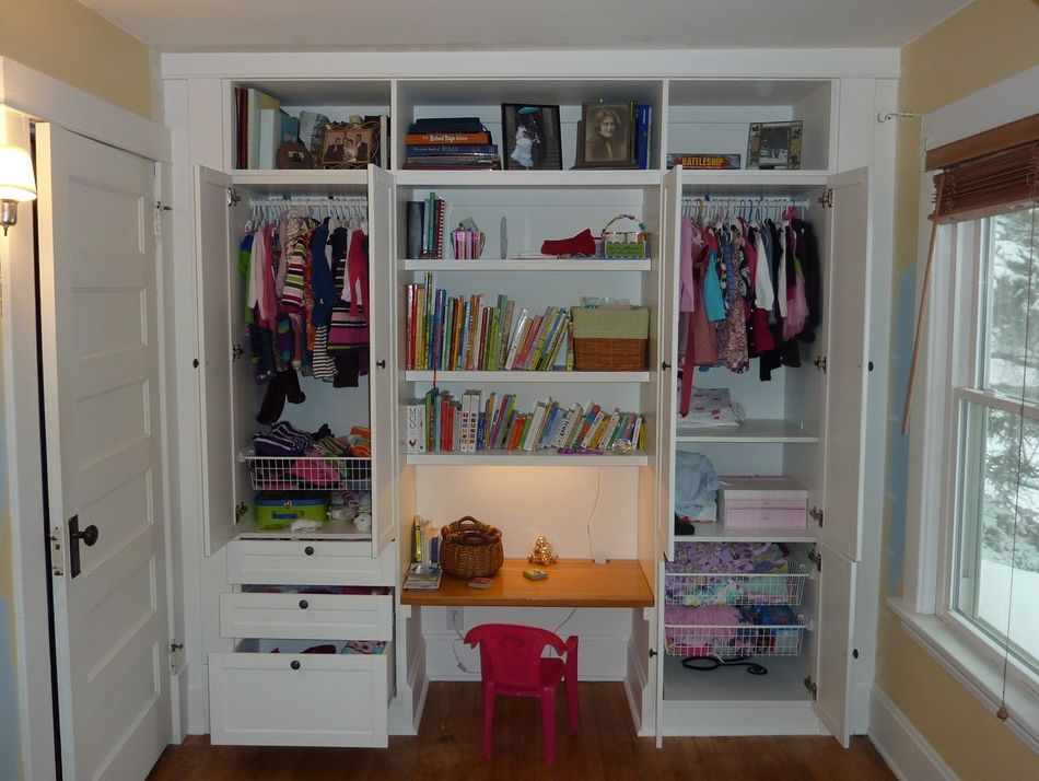 Desk Built Into Closet all the way to the door frame, adjustable desk height, maybe room