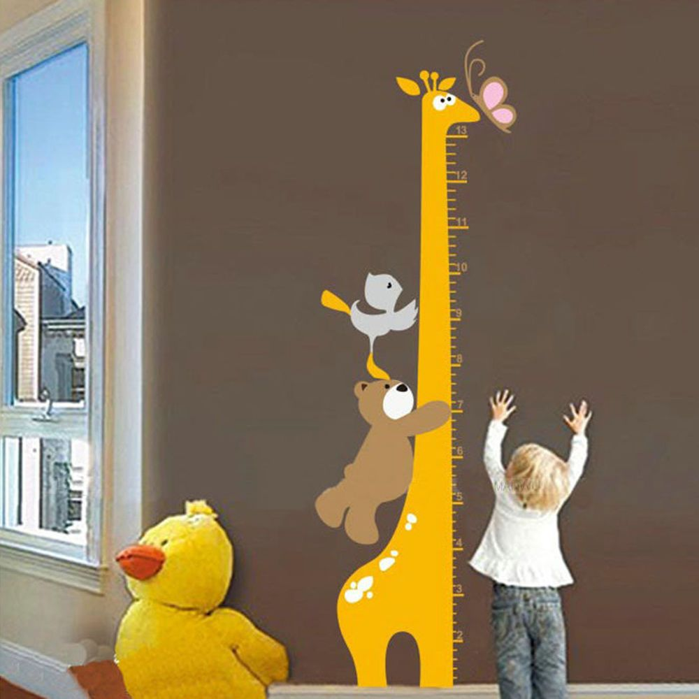 Kids height measure giraffe for child nursery room wall sticker new cartoon giraffe bear children kid growth height chart removable wall sticker instructions the surface is smooth do not stick on the rough or geenschuldenfo Image collections
