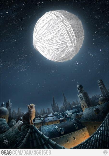 Moonlight Dream Cat Moon Night Dark Town Art Drawing