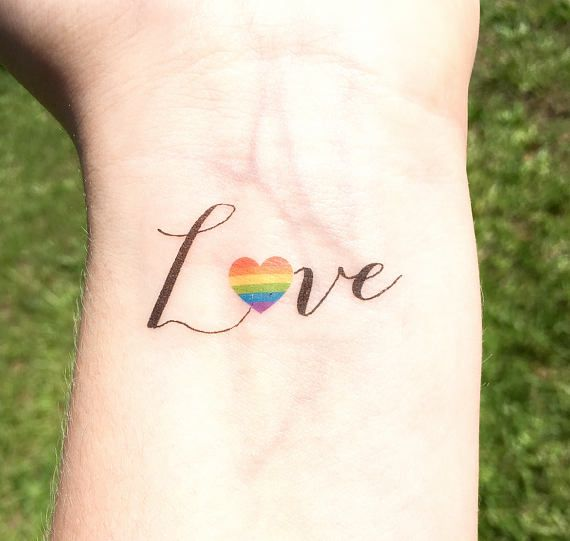 Gay Pride Temporary Tattoo Gay Wedding Gift Love Is Love Love