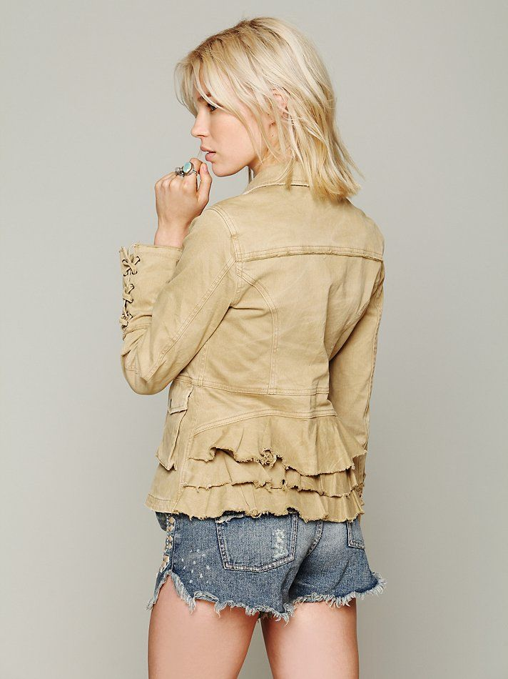 Free People Military Ruffle Twill Jacket at Free People Clothing Boutique