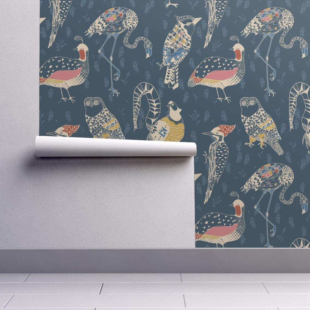 Geo Birds Large Folksy Navy Wallpaper Nouveau Bohemian Spoonflower Geometric Bird Wallpaper Geometric Bird Bird Wallpaper