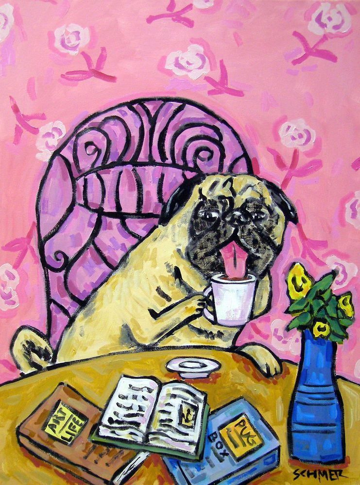 Pug Dog Art Pop Art Folk Painting Coffee Abstract Giclee 4x6