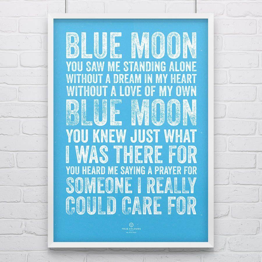 Manchester City Blue Moon Football Song Print Manchester City Blue Moon City Of Manchester Stadium
