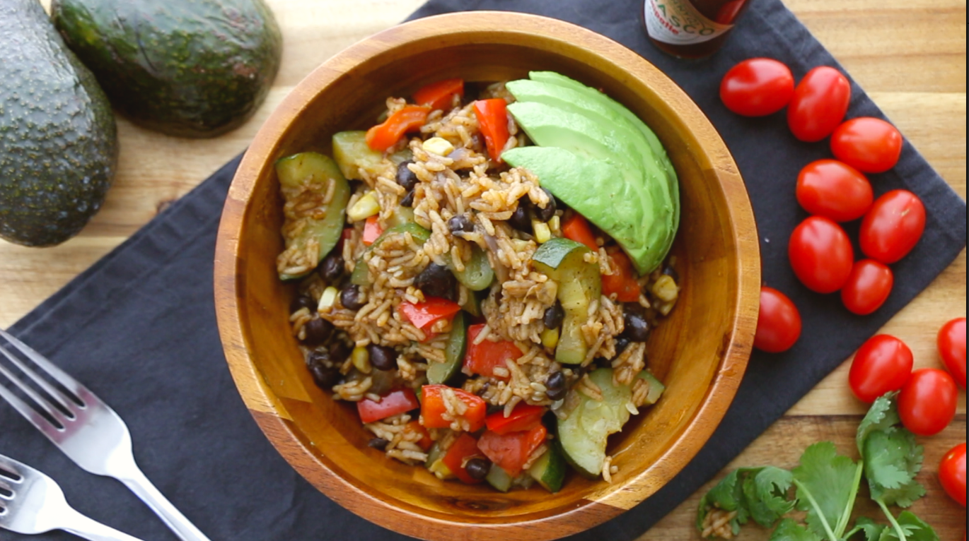 One pot Vegan burrito bowl - The Buddhist Chef #easyonepotmeals