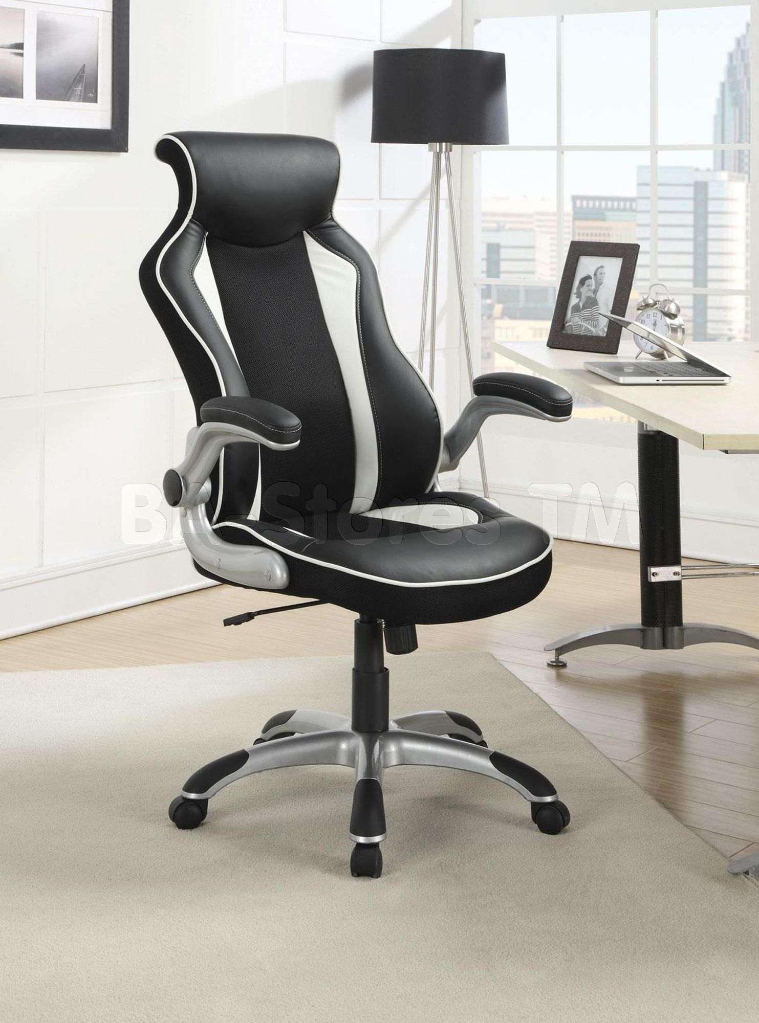Office Chair With A Stylish Race Car Seat Design White Office Chair Contemporary Office Chairs Black Office Chair