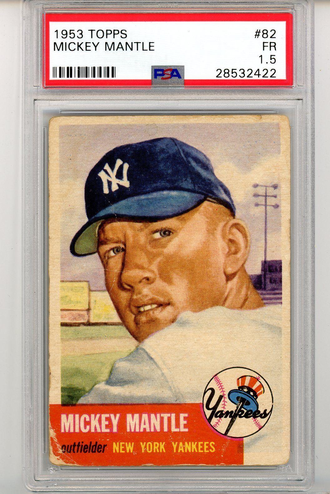 1953 topps baseball 82 mickey mantle psa 15 great eye