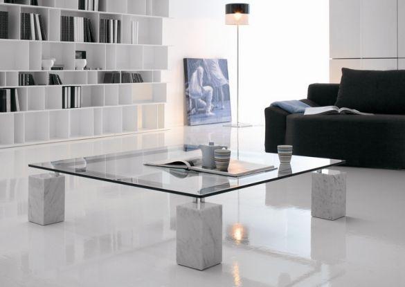 couchtisch glasplatte quadrat marmor beine modern Möbel Ideen