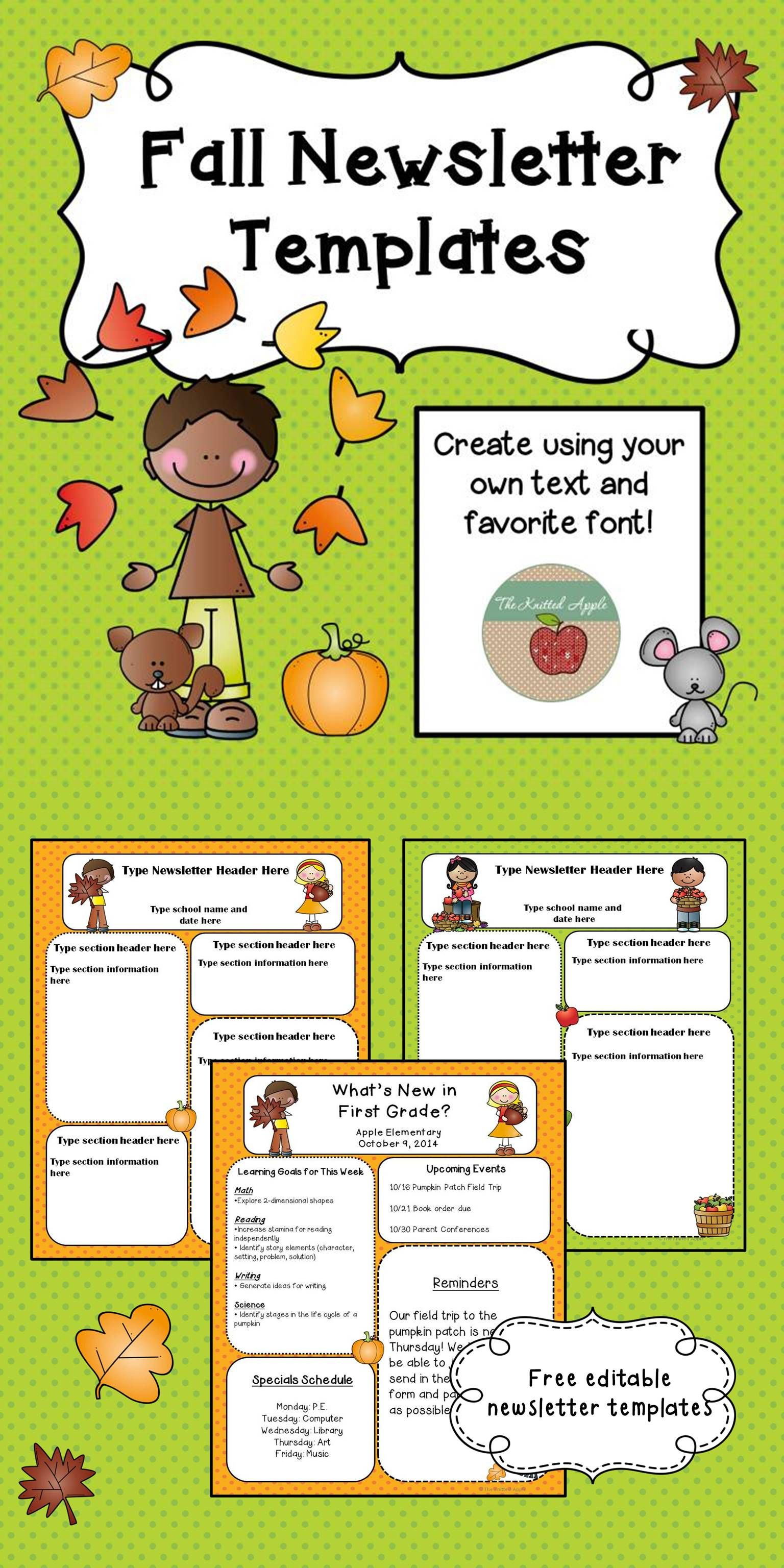 fall newsletter templates freebie pre k pinterest newsletter