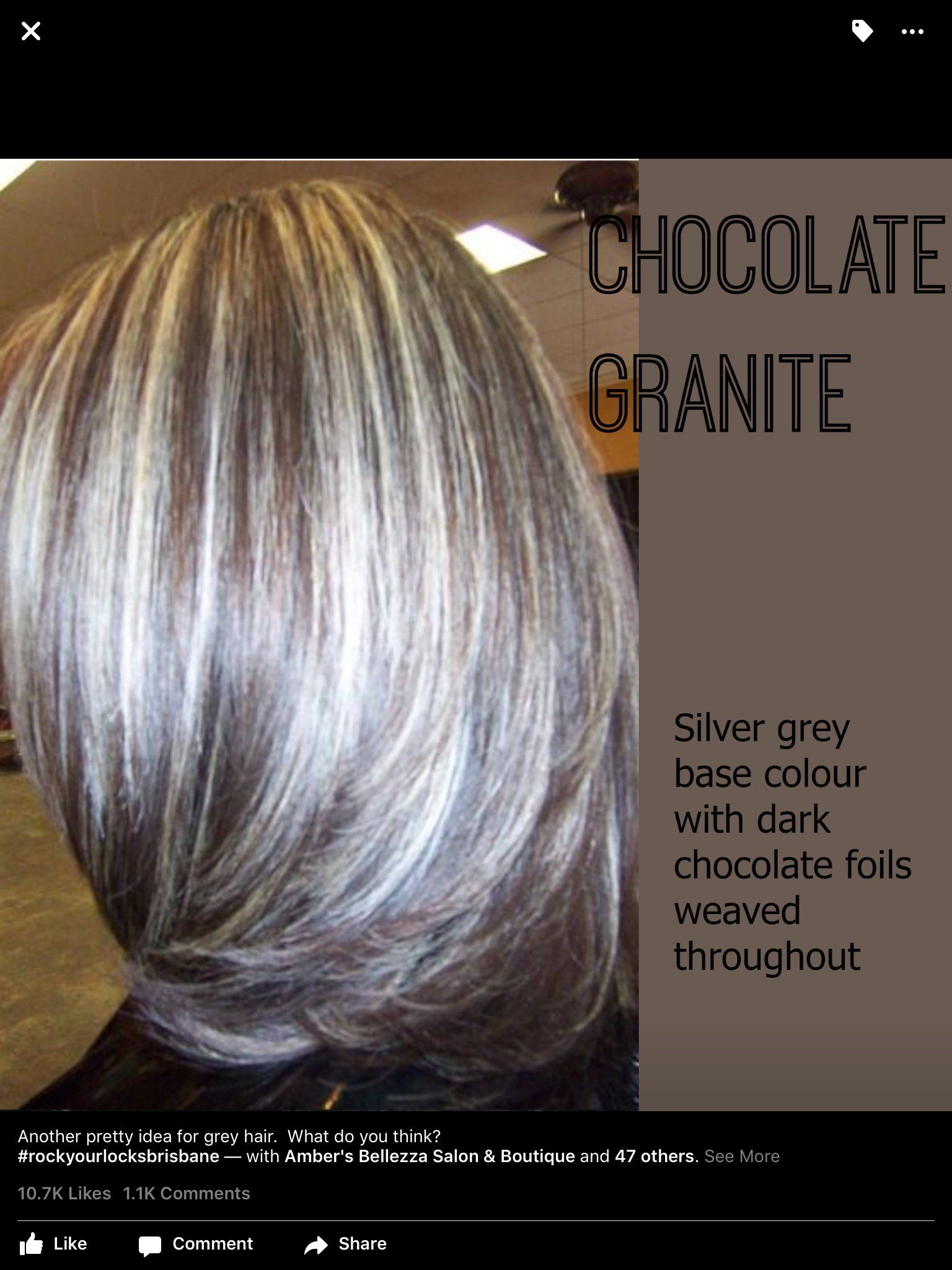 Grey With Chocolate Foils Hairstyle Ideas Pinterest Hair Hair