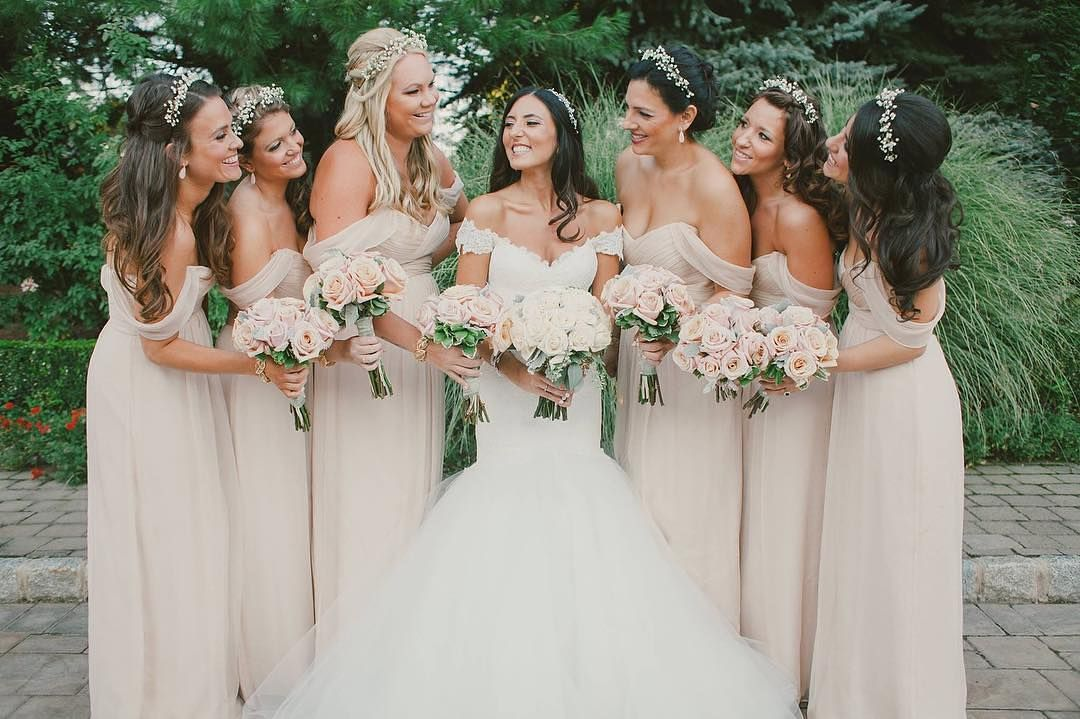990a950d2e Effortlessly romantic in Fawn off the shoulder  AmsaleBridesmaids dresses!
