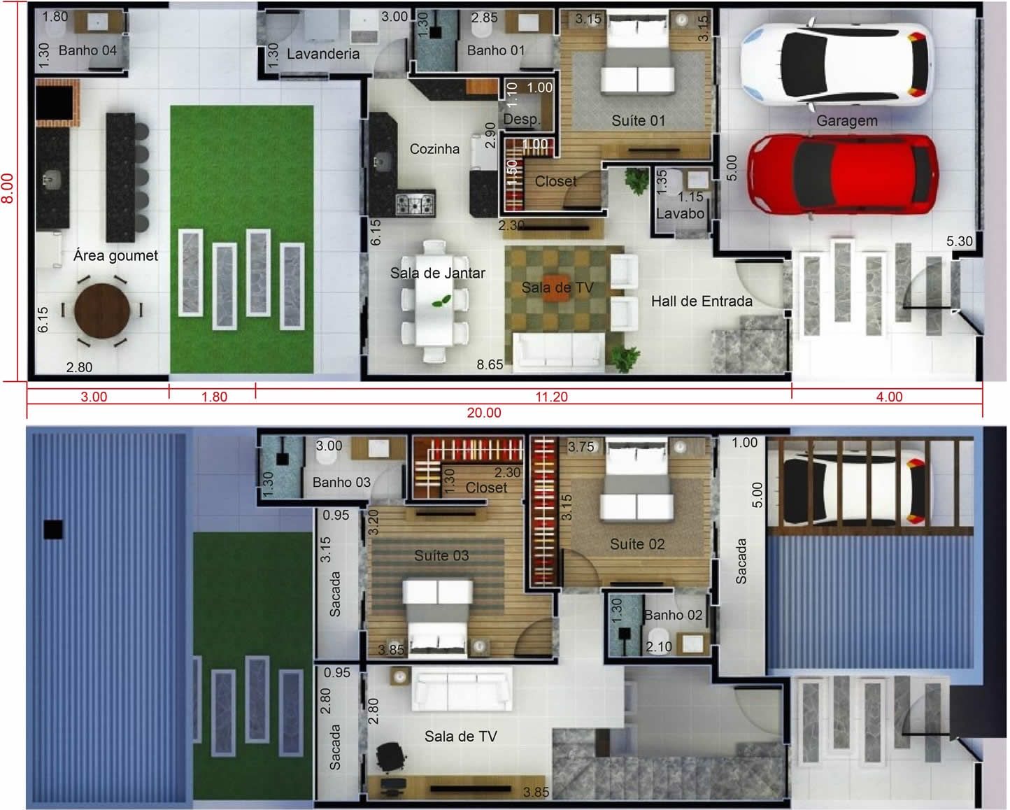 Plano de casa con ed cula plano para terreno 8x20 for Alberca 8 x 5