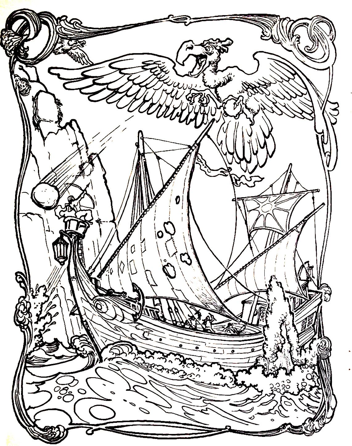 To print this free coloring page coloriage le voyage de simbad