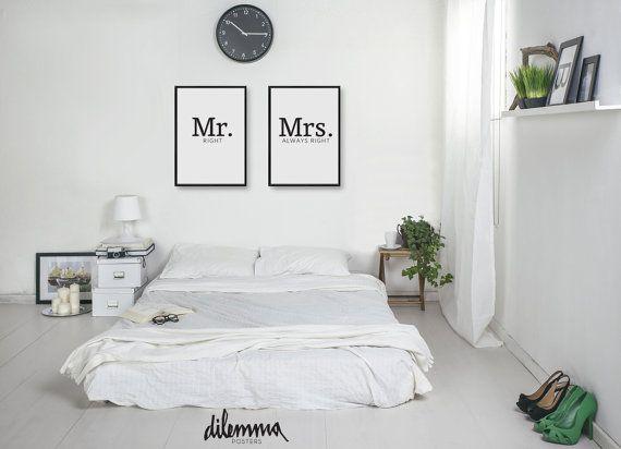 mr right mrs always right typography print modern art. Black Bedroom Furniture Sets. Home Design Ideas