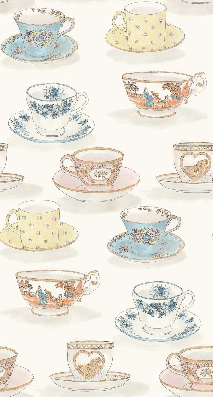 Tea Time By Linwood Wallpaper Direct Tea Wallpaper Tea Illustration Tea Art