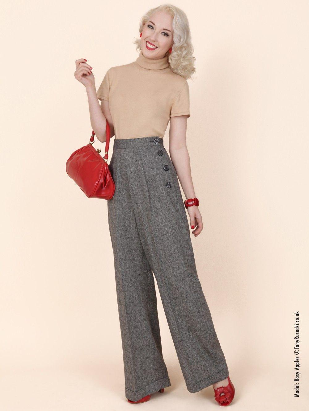 katharine trousers black donegal fleck  fashion vintage