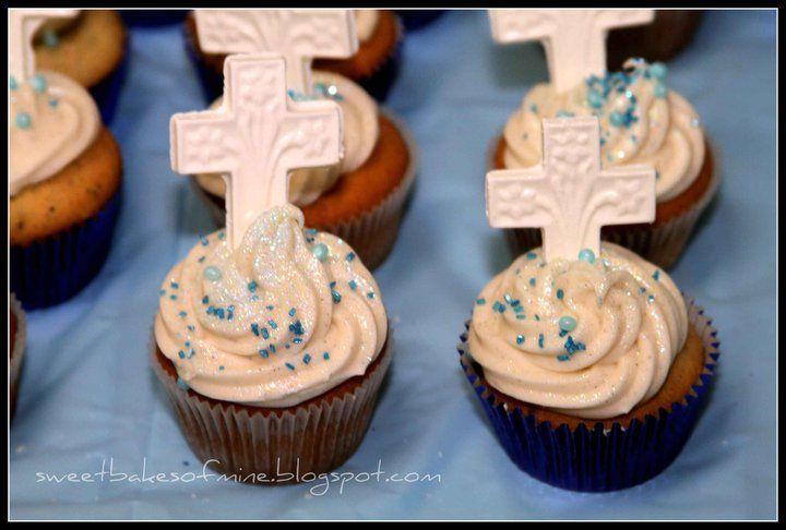Baptism cupcakes baking