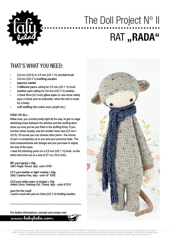 RADA the rat, mouse • lalylala crochet pattern / amigurumi | Tejido ...