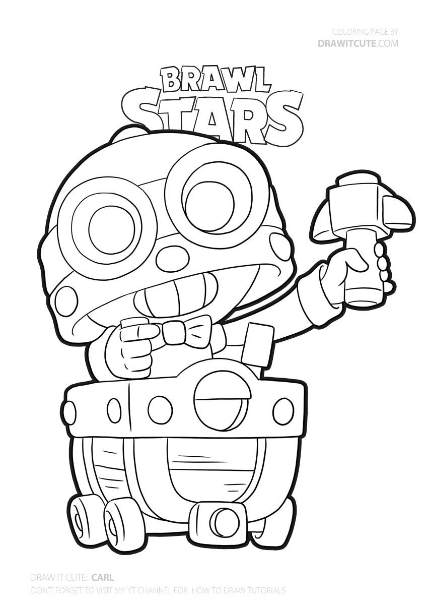 Carl Brawl Stars Coloring Page Color For Fun In 2020 Star Coloring Pages Coloring Pages Paisley Coloring Pages