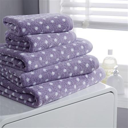 Hotel Living Design Polka Spot Towel Hand Towel, Lavender