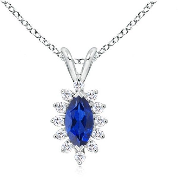 Angara Blue Sapphire and Diamond Halo Pendant in Yellow Gold 0itcJb631