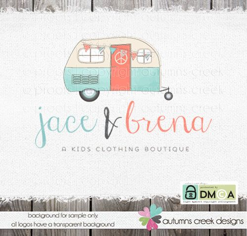 Premade Logo Hand Drawn Camper Clothing Vintage By Autumnscreek