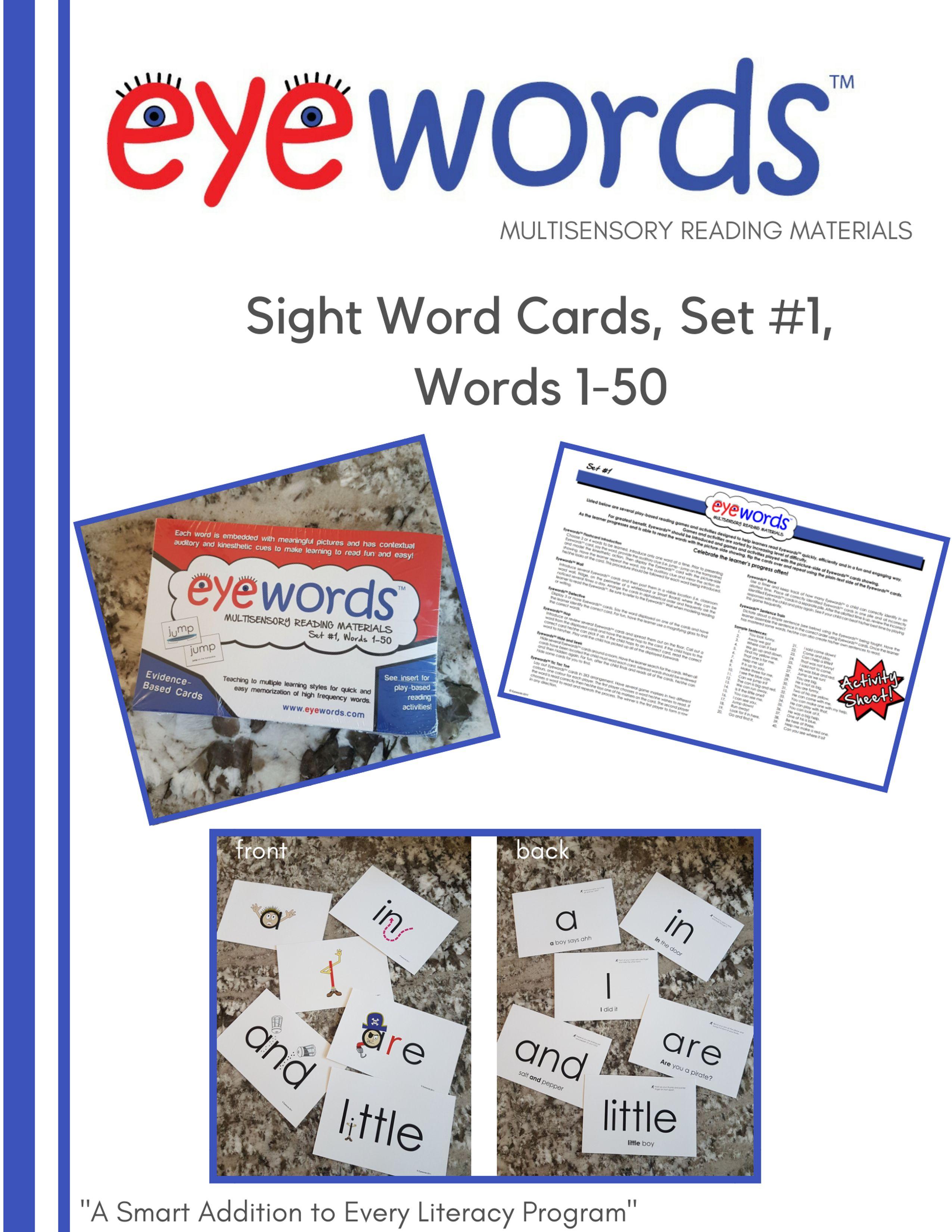 Eyewords Multisensory Sight Word Cards Set 1 Words 1 50