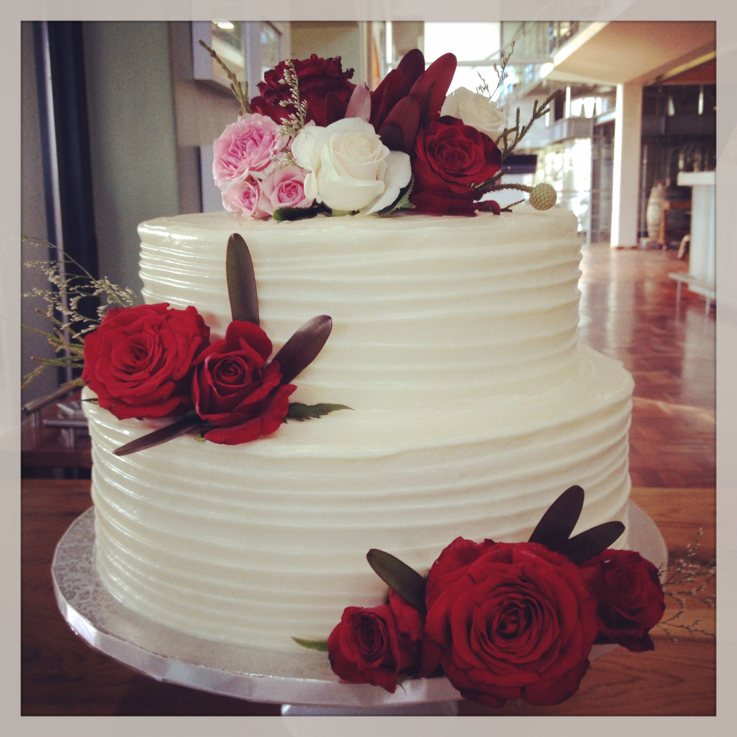 Two Tier Red Velvet Cake With Cream Cheese Frosting By The