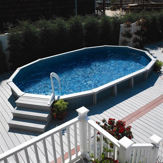 Oval Above Ground Pool Decks Premier Aluminum Above