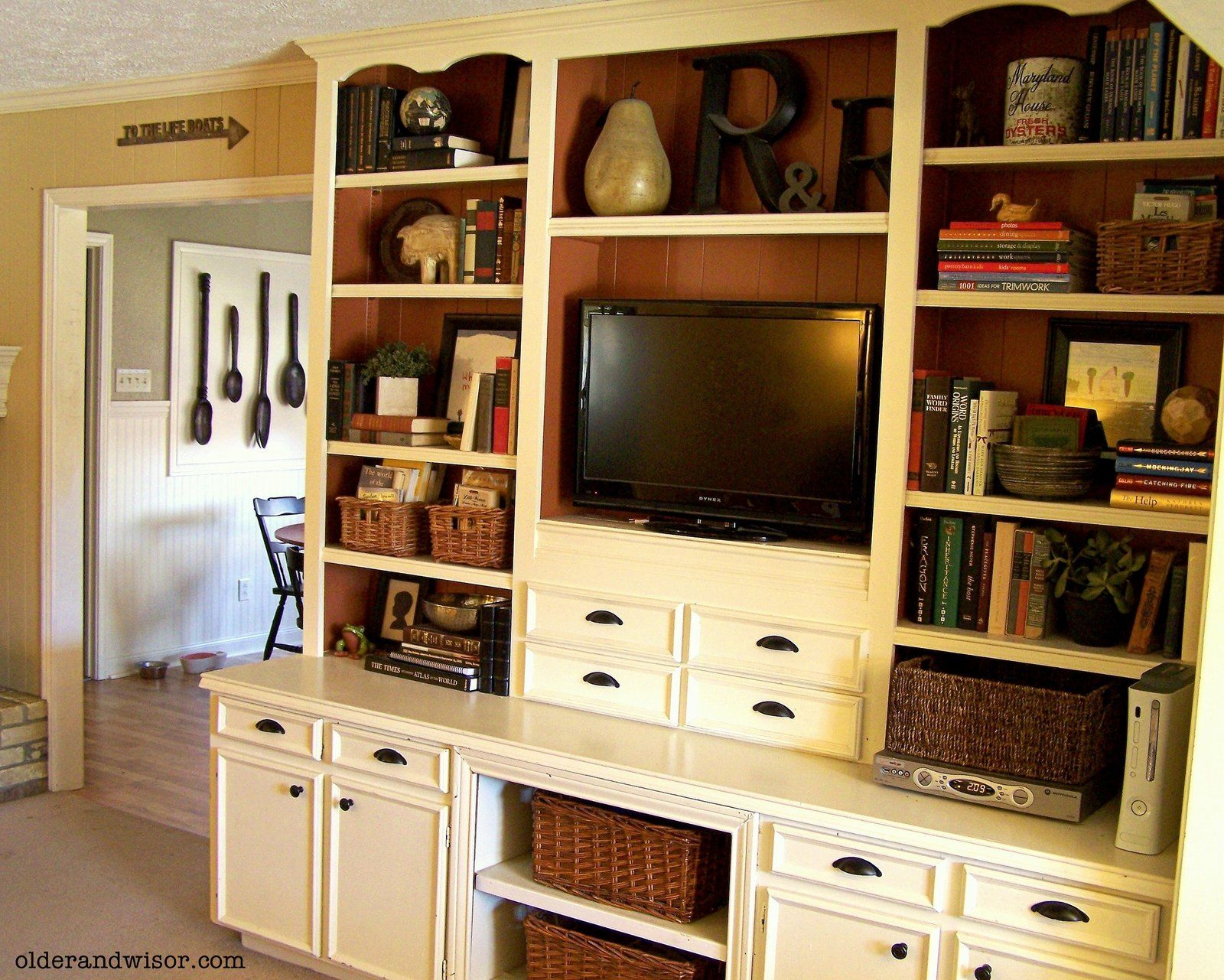 Older And Wisor Using What You Ve Got Dated Built Ins Built In Cabinets Entertainment Room Decor Home