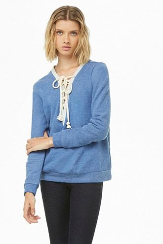 c8ae43824079e French Terry Lace-Up Pullover