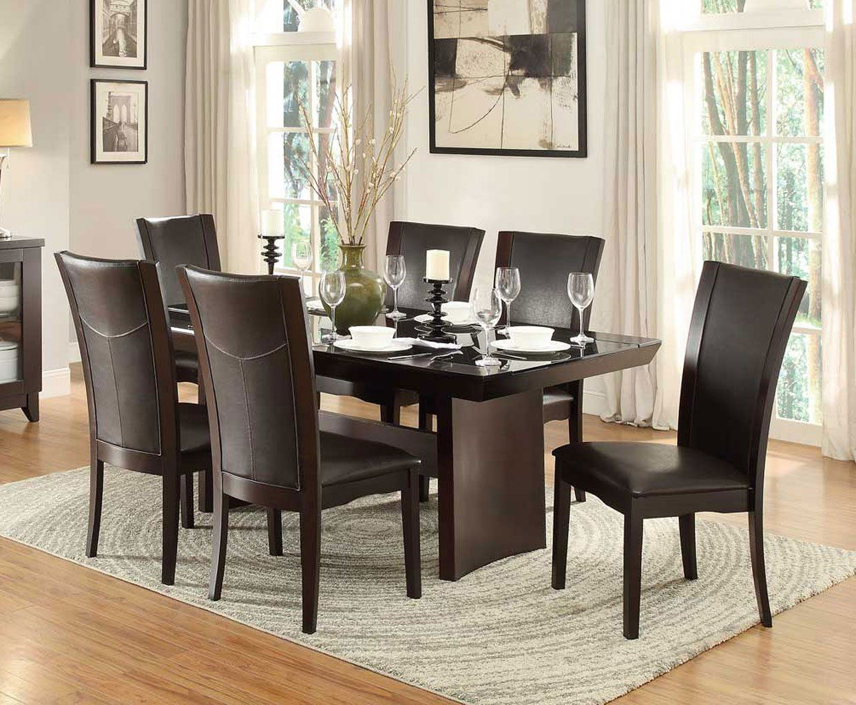Daisy Glass Insert Dining Room Set W Dark Brown Chairs Brown