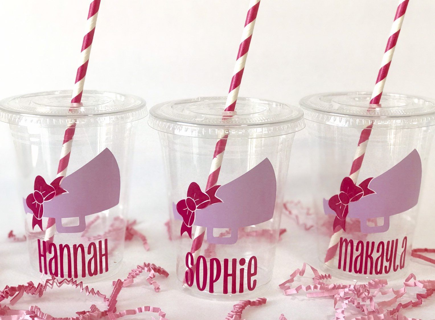 Cheer Party Cheerleading Plastic Drink Cups with lids and straws Cheerleading Party Cups with lids and straws