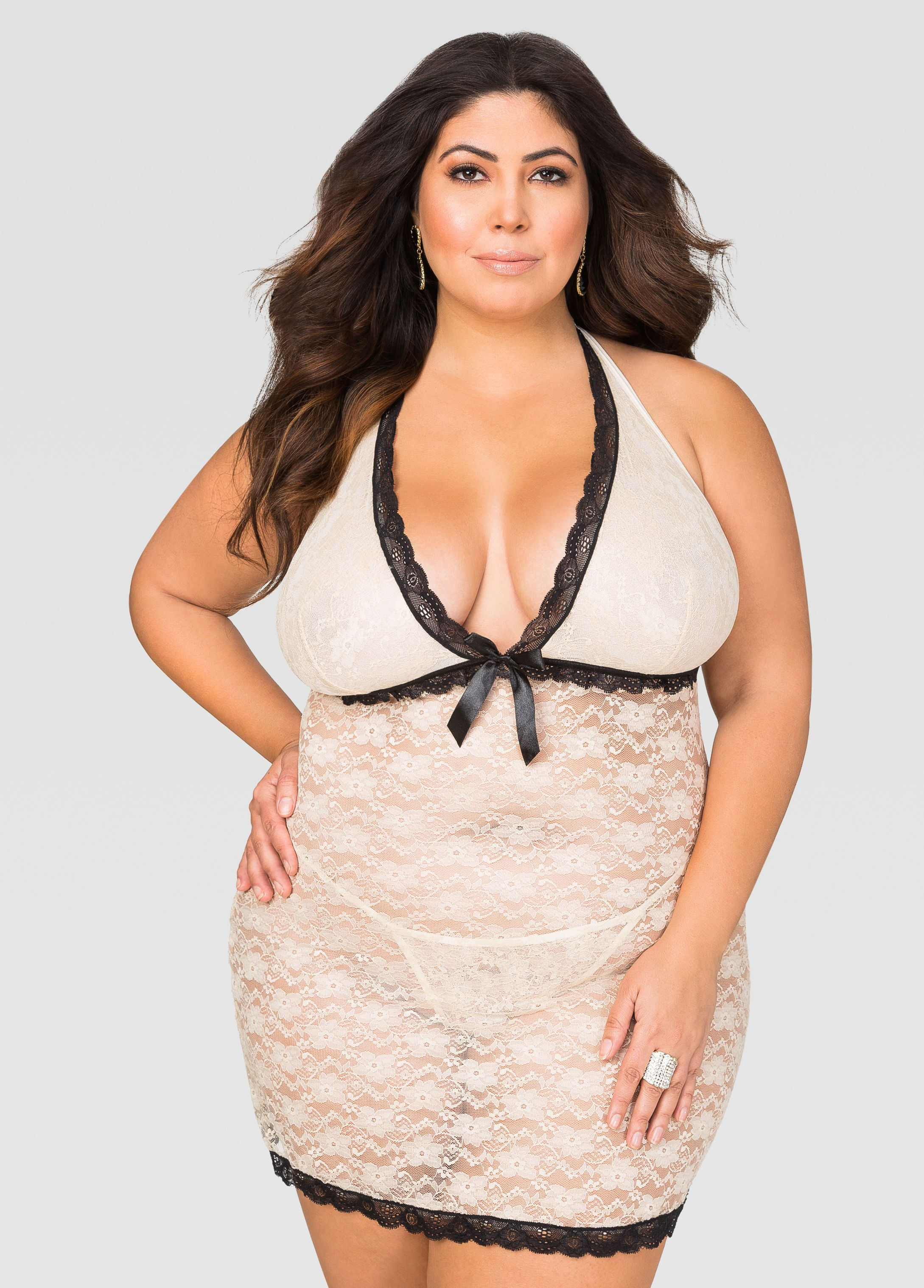 fea3f606882ef Plunging Lace Chemise Lingerie Set in 2019 | Jessica Milagros | Big ...
