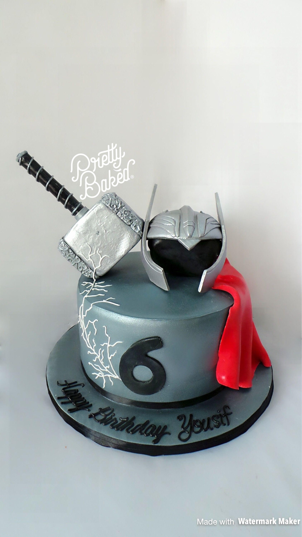 Thor Hammer And Helmet Design Cake Designed Cakes Pinterest