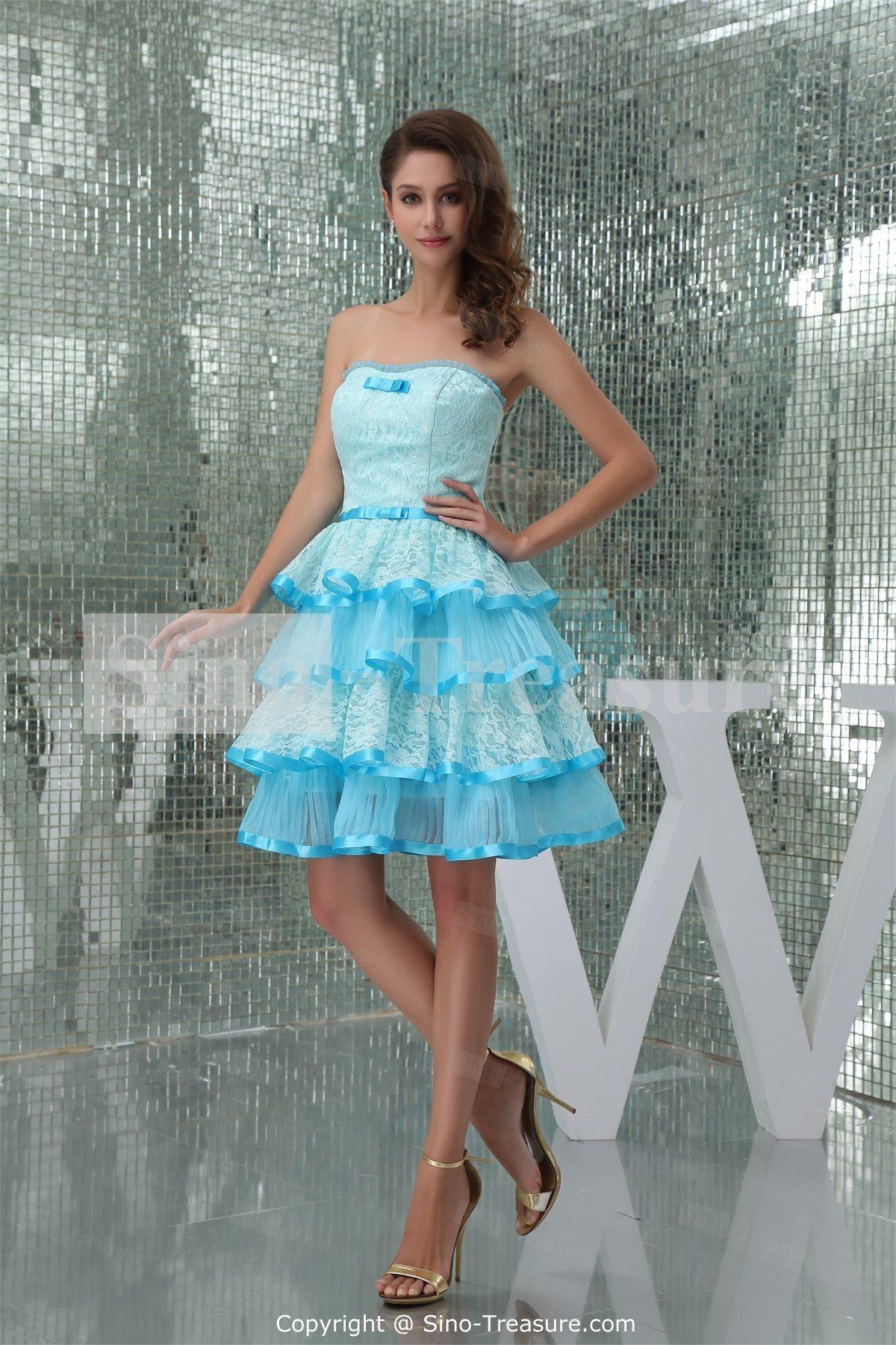 Sleeveless Light Sky Blue Apple Knee-Length Cocktail/Prom ...