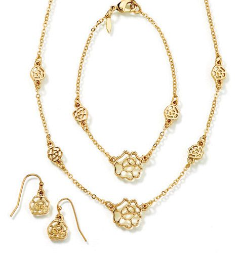 Love Sweetly Flower Three-Piece Gift Set in Goldtone