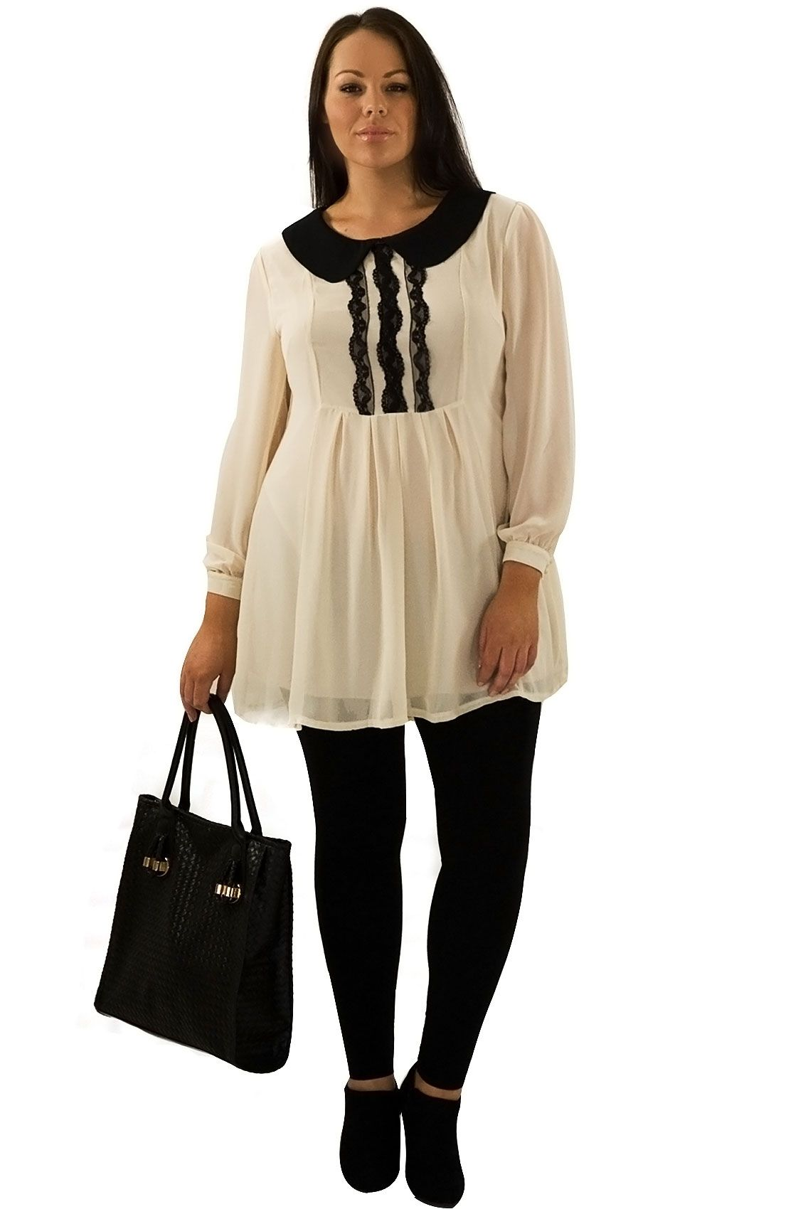 Chiffon tunic with Peter Pan collar plus size