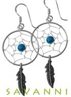 Silver Earring Dreamcatcher Turquoise