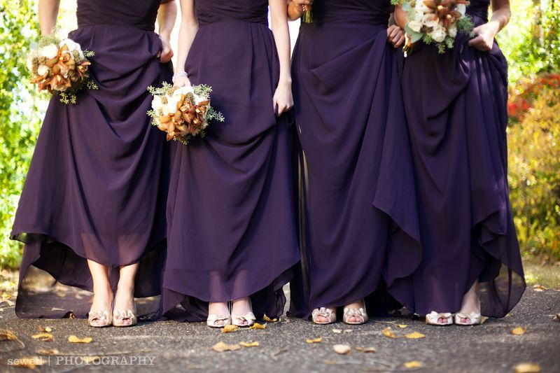 Dark Purple Dresses And Silver Shoes For The Bridesmaids