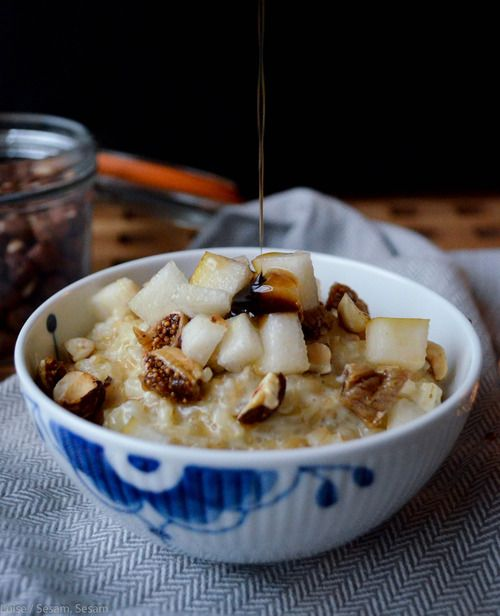 Rice Porridge with syrup, pear and nuts