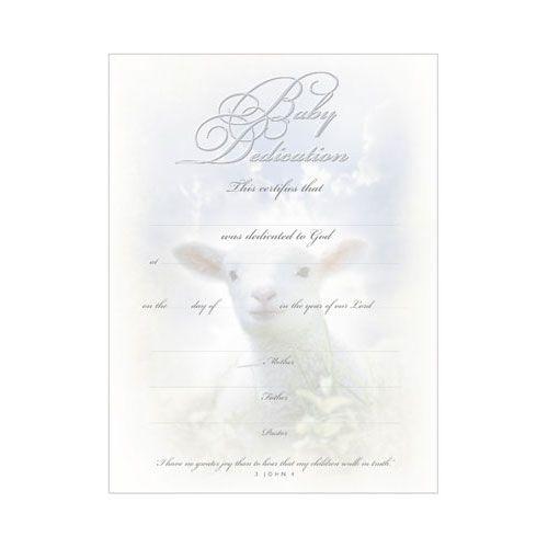 Baby Dedication Certificate Lamb  Dedication Certificates