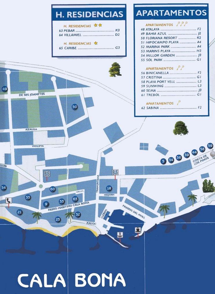 Cala Bona tourist map Maps Pinterest Tourist map Majorca and