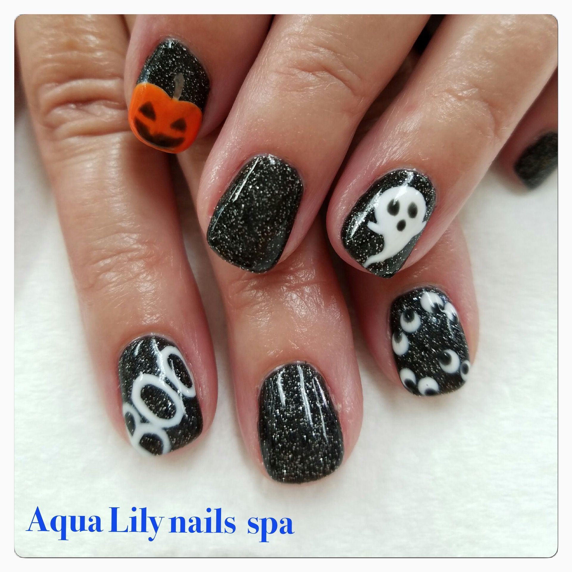 Halloween Nails Designs With Jack O Lantern Ghost Boo Black Gel Nails And Eyes Black Halloween Nails Halloween Nail Designs Lily Nails